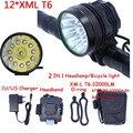 12t6 2 em 1 Farol 22000 Lumens 12 x XM-L T6 LED Luz de Bicicleta Ciclismo Bicicleta Head Lamp + 18650 Bateria pacote + Carregador
