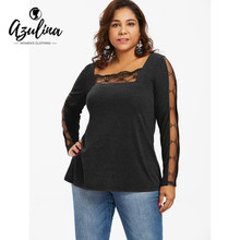 0b80230004125b AZULINA Plus Size Lace Panel T-Shirt Women See Thru Square Neck Long Sleeve  T Shirt