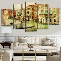 Stadt Venedig Leinwand Malerei 5 Stück Leinwand Kunst Poster und Drucke Wandbild für Wohnzimmer Wandkunst Poster Ölgemälde S