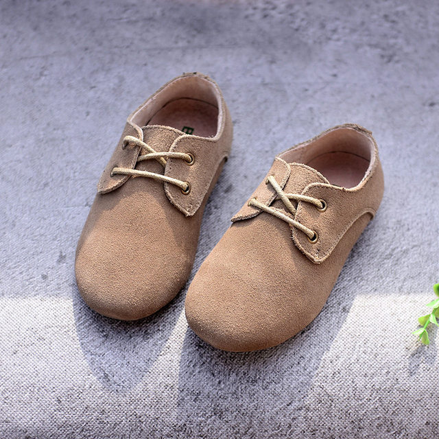 Cowhide Children Sneakers suede leather Boys and Girls lace-up Oxford Shoes Kids casual shoes 4