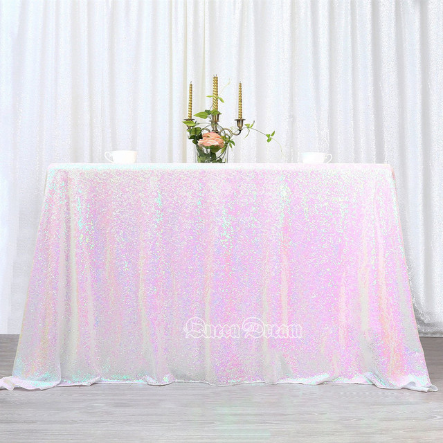 Sequin Tablecloth 50 X80 Iridescent White Sequin Tablecloth Shining