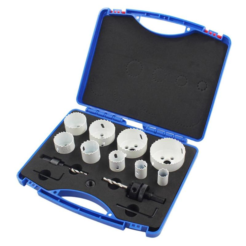 цена на 13pcs Holesaw blades kit Bi metal holesaw Bit Set adjustable wood hole saw cutter metal cutting Core Drill Bits Hole Cutting Saw