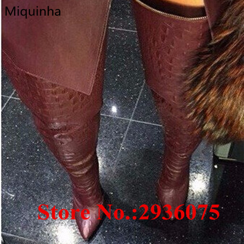 Women Sexy Black Embossed Python Leather Women Thigh High Boots Pointed Toe Stiletto High Heels Back Zipper Over The Knee Boots new fashion back lace women over the knee boots black suede leather ladies pointy toe thigh boots stiletto boots