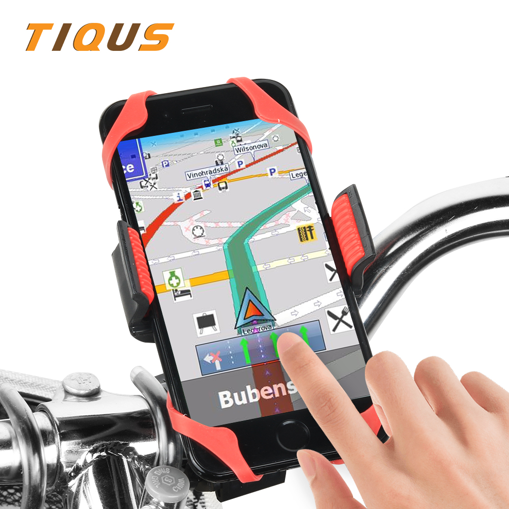 TIQUS Universal Bike Bicycle Phone Holder Mount Bracket Stand Support 360 Adjustable Handlebar for Mobile Cell GPS