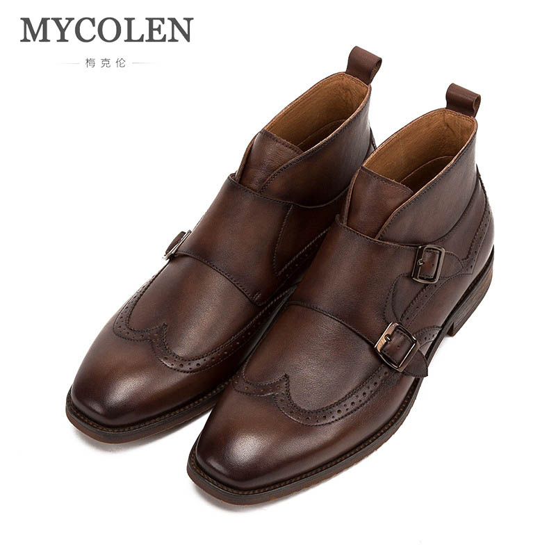 MYCOLEN 2018 Autumn Winter Ankle Chelsea Boots Men Shoes Cozy Male Business Casual Genuine Leather Quality Slip On Boot Man