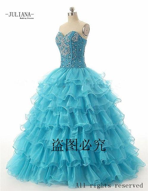 Juliana barato 2017 vermelho azul vestidos quinceanera vestido de baile com frisada de cristal organza prom party vestido de sweet 16 dresses qa934