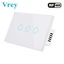 Vrey US Standard touch Switch 3 Gang,Support RF433 Remote Control Smart Wall Switch, Intelligent touch light switch