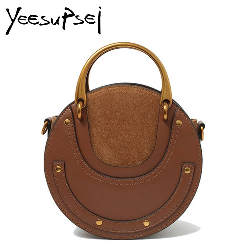 YeeSupSei New Fashion Mini Genuine Leather Handbag One Shoulder Metal Ring Handle Cross-body Bag Small Round Package Women bag 2016 autumn winter new women s handbag one shoulder cross body bag the trend of fashion picture package large capacity handbags
