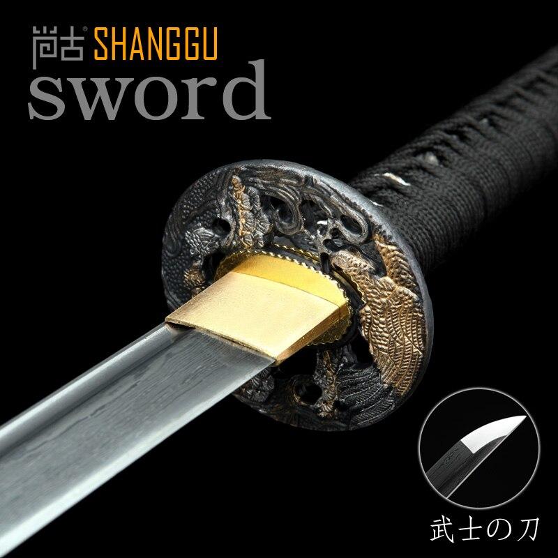 Épée de samouraï japonais noir fait à la main Katana lame en acier plié pratique cadeau tranchant chinois Kung Fu Ninja épée