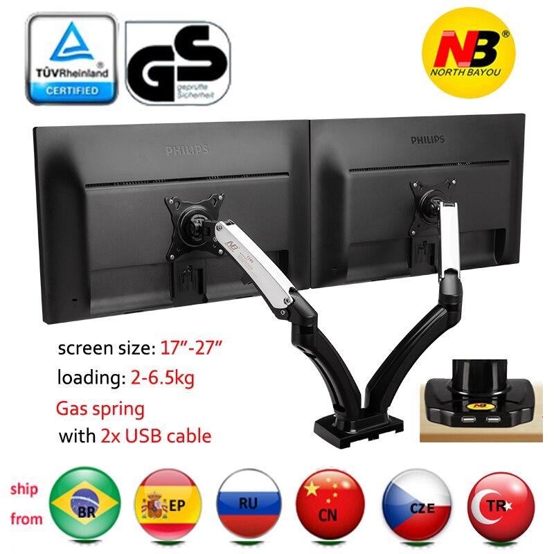 NB nouveau F180 27 pouces air presse gaz contrefiche double écran lcd tv support double usb bras montage 360 rotation plein mouvement support de bureau