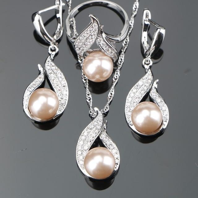 Natürliche Perle Silber 925 Braut Schmuck Sets Frauen Schmuck Mit Zirkon Perlen Set Ohrringe Anhänger Halsketten Ring Geschenk Box