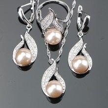Натуральный пресноводный высокое качество Pearl 3 шт. Свадебные стерлингового серебра 925 наборы для женщин серьги/кулон/ожерелье/ кольца