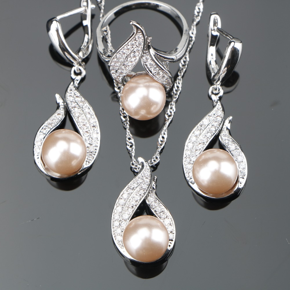 Natural Freshwater Pearl Silver 925 Jewelry Sets For Decorating Women Set of Earrings With Stones Pendant&Necklace Ring Gift Box