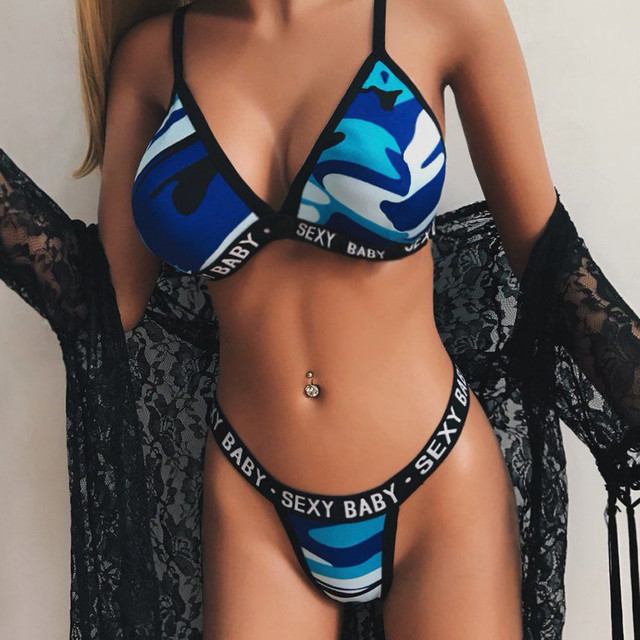 Women Hot Sale Sexy Fashion Camouflage Lingerie Set Corset Bra Letter Print G String Panties Underwear Sets Sports Underwear 2