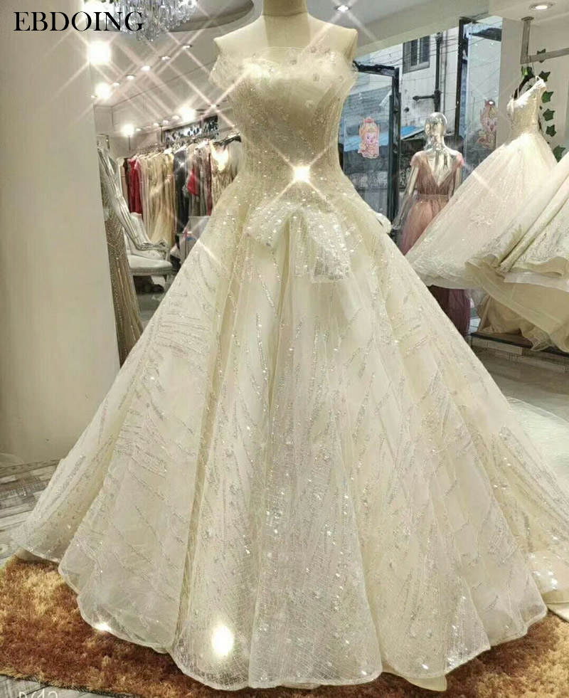 Veatidos De Novia Luxury A line Wedding Dress Sleeveless Strapless Lace Up Chapel Train Plus Size Bride Dress Wedding Grow