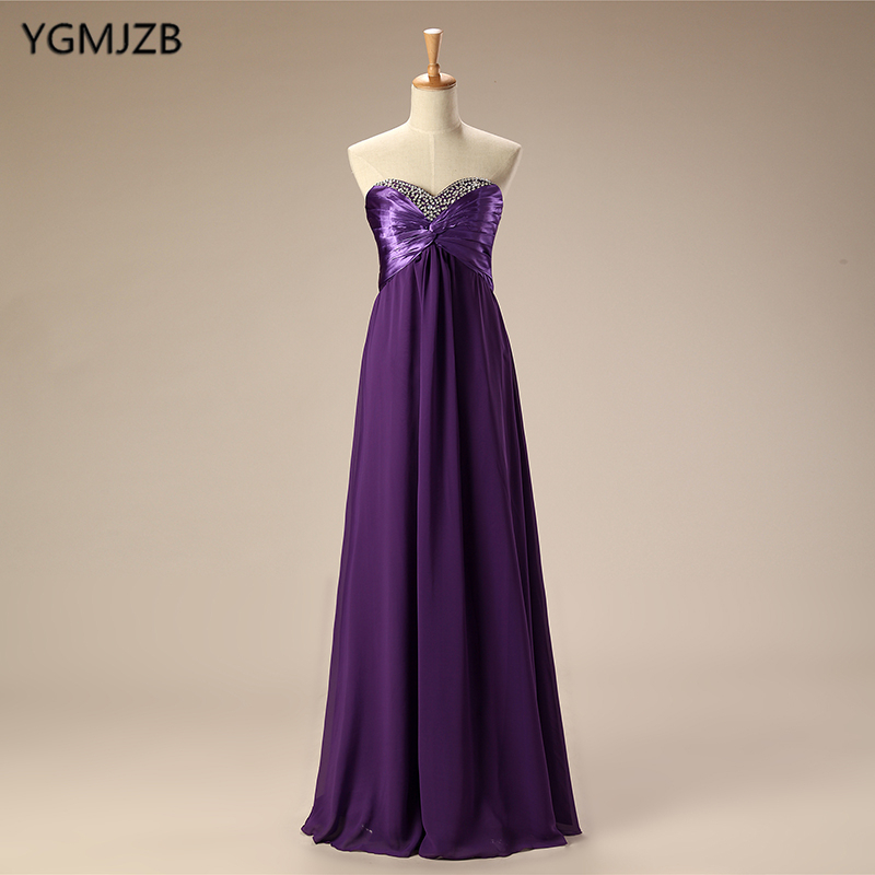 Cheap   Bridesmaid     Dresses   Long 2019 A-Line Beaded Chiffon   Dress   Purple Red Black Royal Blue Women Formal Wedding Party   Dresses