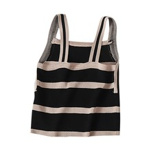 Women Summer tank  top  New Style Sexy All-match  Striped tank  top  women Personality Casual Camisoles Tops