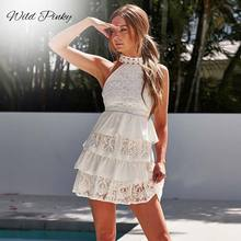 WildPinky Women Mini Dress Summer White Elegant Hollow Out Party Sexy Club Halter Sleeveless Ruffles Lace Cake Dress Vestidos