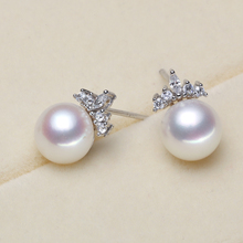 925 silver real natural big [bright pearl] fashionable bright fresh water pearl earrings, earrings, steamed bun round 925 new na