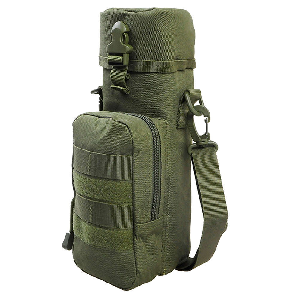 600D Nylon Military MOLLE Tactical Water Bottle Kettle Pouch with Strap Multi-Purpose Bottle Holder for Camping Hiking Travel