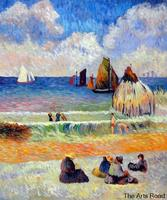 Landscape Oil Paintings for Living Room Wall Decor Bathing, Dieppe, 1885 by Paul Gauguin Painting Hand Made Post Impressionist