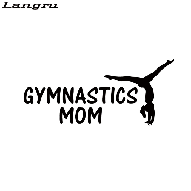Langru personality car stying gymnastics mom funny vinyl decal stickers car creative decorative jdm