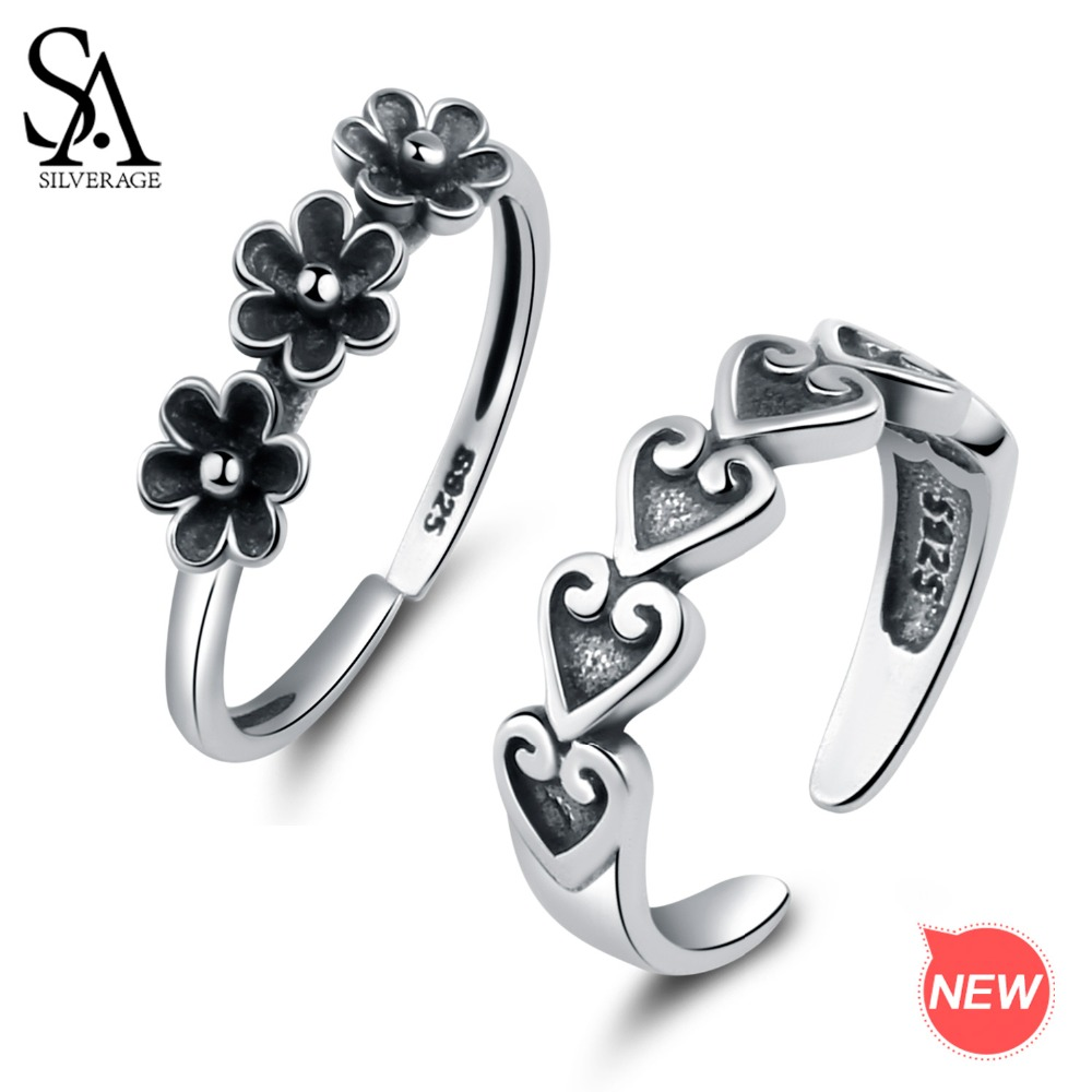 0c31357d003ec0 SA SILVERAGE Authentic 925 Sterling Silver Vintage Flower/Heart Shape  Wedding Rings for Women 925 Silver Rings Girls Jewelry-in Rings from Jewelry  ...