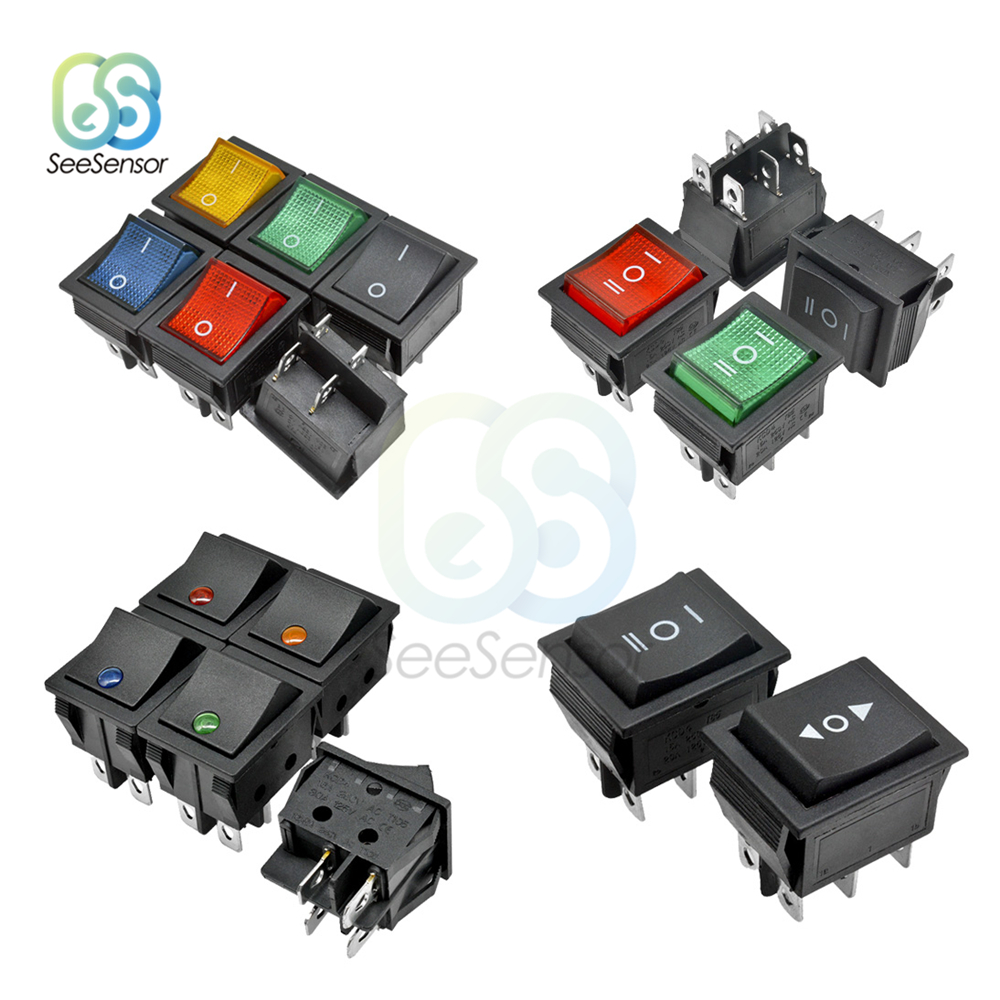 KCD4 Rocker Switch ON-OFF <font><b>2</b></font> Position On-Off-On 3 position <font><b>4</b></font> <font><b>Pins</b></font>/ 6 <font><b>Pins</b></font> Electrical Equipment With Light Power Switch 16A 250VA image