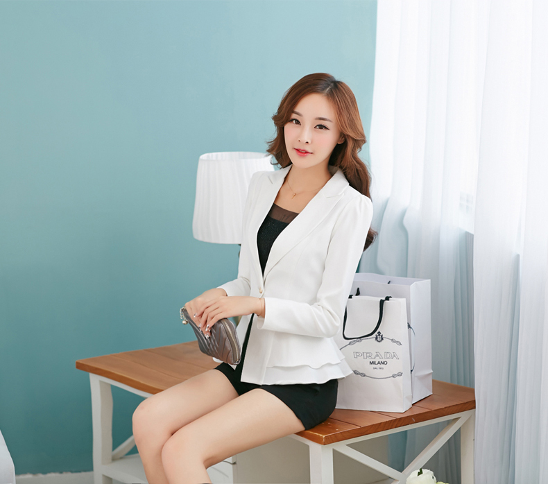 J44363 High Quality Fashionable Single Button Notched Office Lady Blazer Jacket