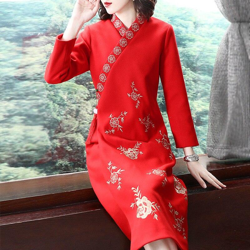 Rot Schwarz Robe Vintage Femme Herbst Mode Lange Kleid Ethnische Stickerei Vestido Lange Hülse Lose Beiläufige Kleid Cheongsam AA4563