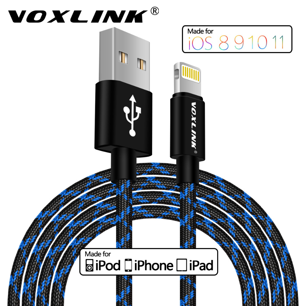 VOXLINK MFI Certified Lightning to USB Cable 2.1A Fast Charging Data Cable For iPhone X 8 7 6/6 Plus 6s/6s Plus 5/5s/5c iPad