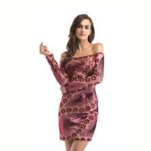 Fashion Printed Long-Sleeved  Sequin Dress Women Pink Glitter Off Shoulder Sukienka Damska Party 50J002