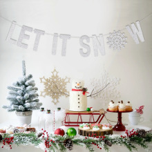 Silver Glitter Letter Let It Snow Garland Winter Banner Snowflake Holiday Wall Decoration Christmas Decor