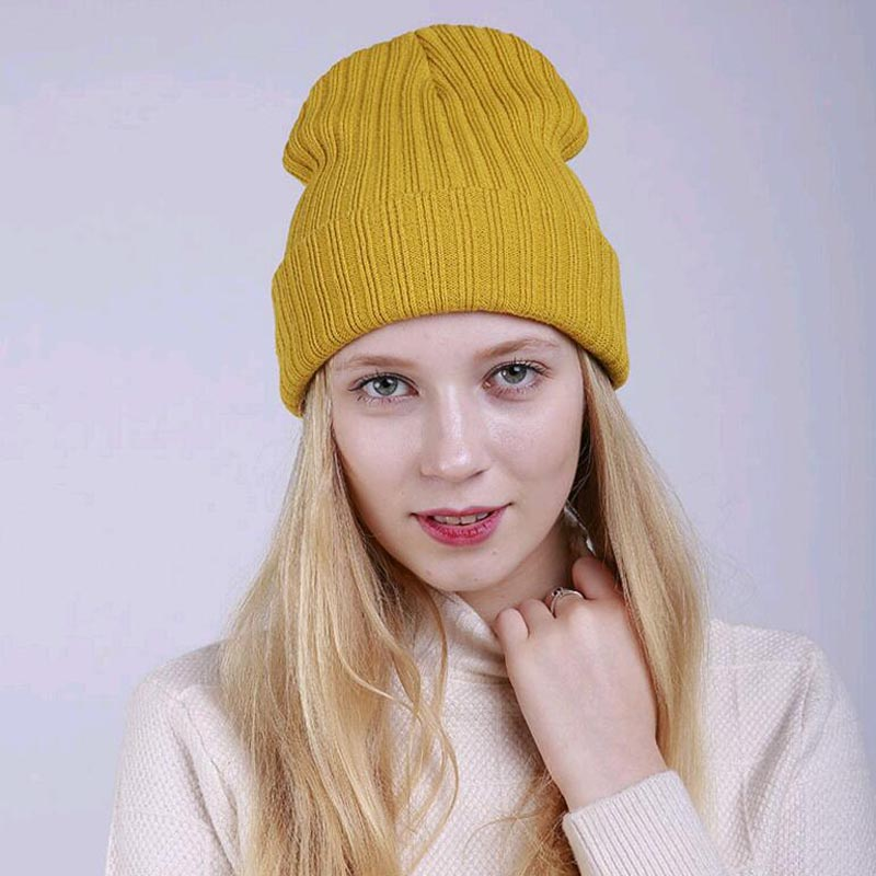 2017 New Candy color winter Beanies for Women pure Straight stripe Bowing double layer skullies warm lady knitted hat ski cap animal printing new plus side men and women with the double layer of warm ladies pile heap cap skullies hat knitted hat stripe