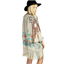 New Fashion Women Boho Chic Fringe Floral Kimono Cardigan Tassels Mori Girl  Beach Cover Up Cape Jacket Tassel Kimono недорого
