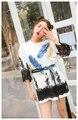 Melinda Estilo 2017 novo t-shirt da forma das mulheres mangas de paetês padrão laço decorado verão top frete grátis