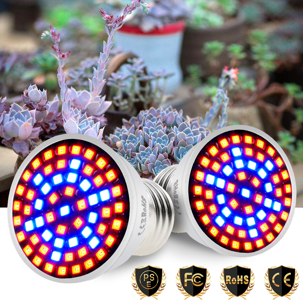 E27 LED Grow Light E14 Full Spectrum Led Grow Tent Indoor GU10 Plant Lamp 220V MR16 LED Lampada For Plant B22 48 60 80led Phyto