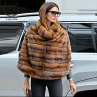 2018 New Real Mink Fur Cost Stand Collar Sable Pelt Fur Natural Jacket Women Genuine Warm Winter Real Fur Coats Luxury MKW 112