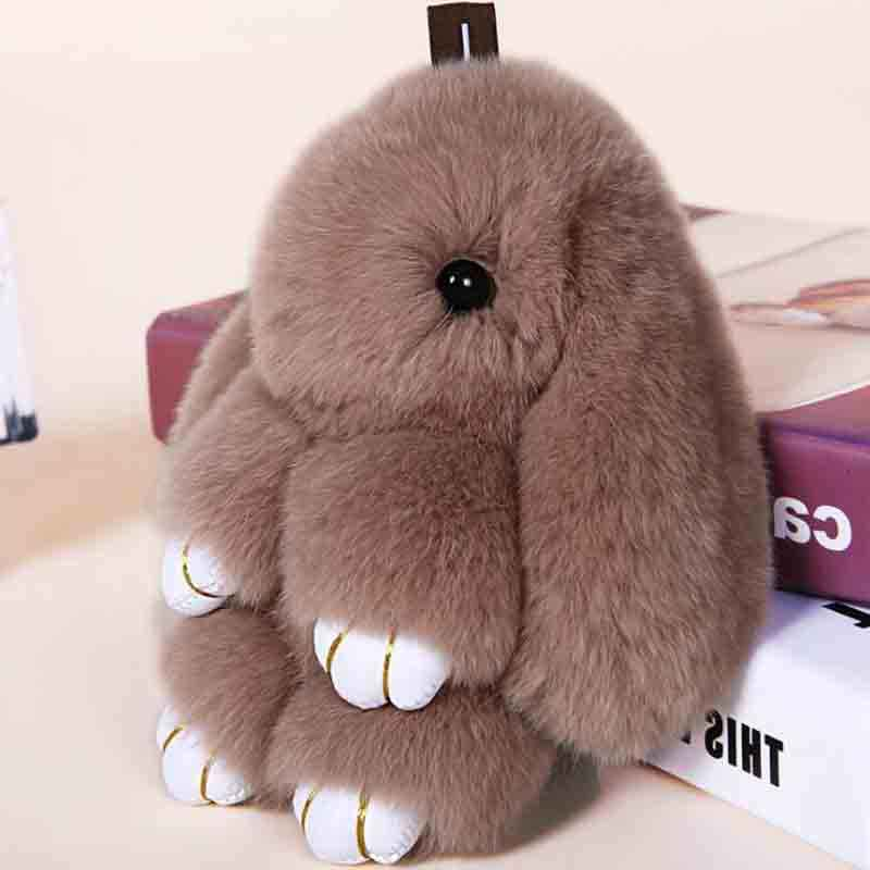 30b4bf217d4 ... Deep Grey Fluffy Bunny Dolls Keychain Girls School Bag Charm Fashion  Cute Youth Girl Purse Handbag ...