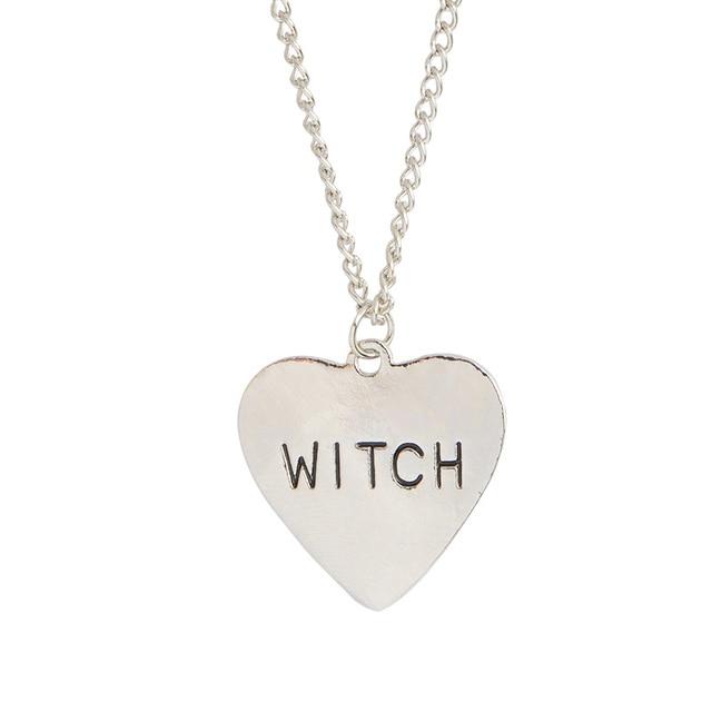 174cb5d4beb57d Czarownica naszyjnik serce wisiorek naszyjnik srebrny proste czarów  naszyjnik dla czarownic kobiety mężczyźni Punk gotycka biżuteria