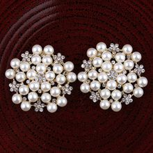 Pearl-Plating Rhinestone-Button Hair-Accessories Crafts 2colors Flower Flatback for Shiny