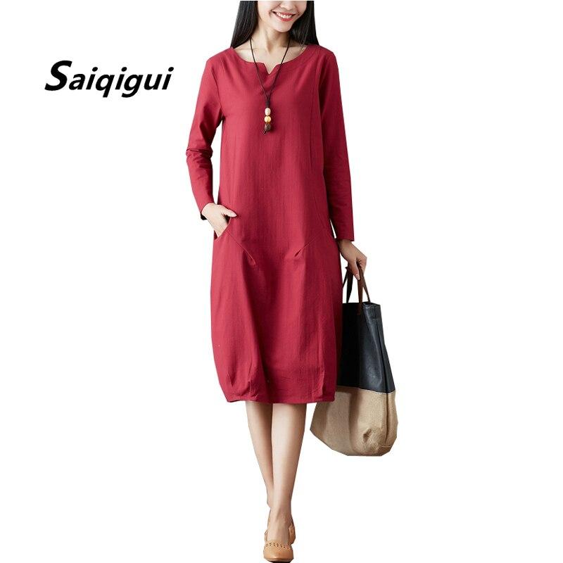 Saiqigui 2018 chegam novas Primavera Outono vestido de manga longa mulheres vestido  o pescoço casual solto vestido de Linho de algodão vestidos de festa 0d280b62ac4c