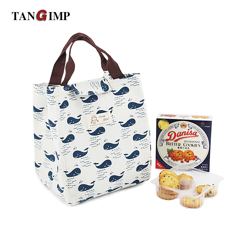 TANGIMP Reusable Cotton Warmer Lunch Bag Cute Insulated Lunch Handbag Waterproof Lunch Box Soft Bento Cooling