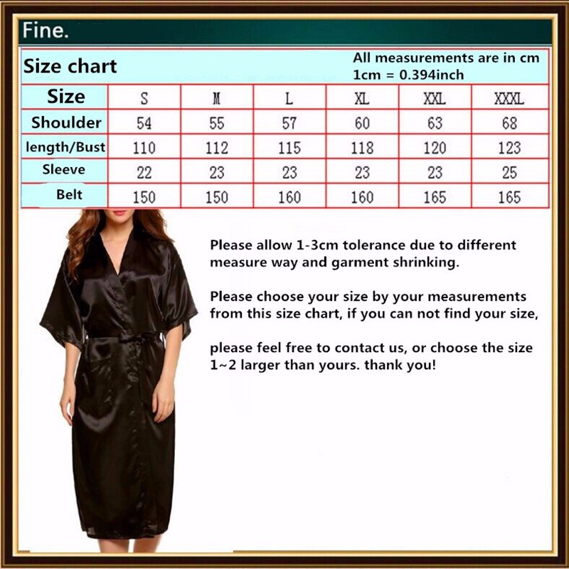Satin Robe Size Chart