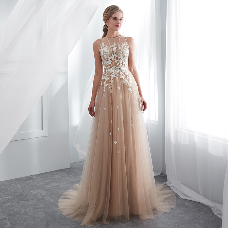 Us 7035 36 Offvestidos De Gala Largos Sleeveless Prom Dresses 2019 Long Floor Length Champagne Party Gowns Robes De Soiree Formal Prom Dress In