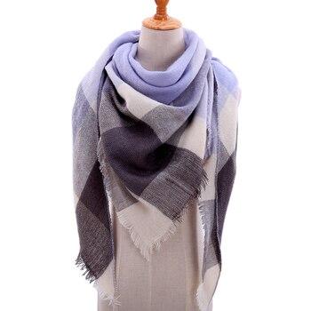 Designer 2018 tricoté printemps hiver femmes écharpe plaid chaud cachemire foulards  châles de luxe marque cou bandana pashmina lady wrap d6aeafc8a55