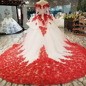 Image 2 - AXJFU white lace princess red flower beading crystal ruffles vintage wedding dress luxury long pearls wedding dress 05410