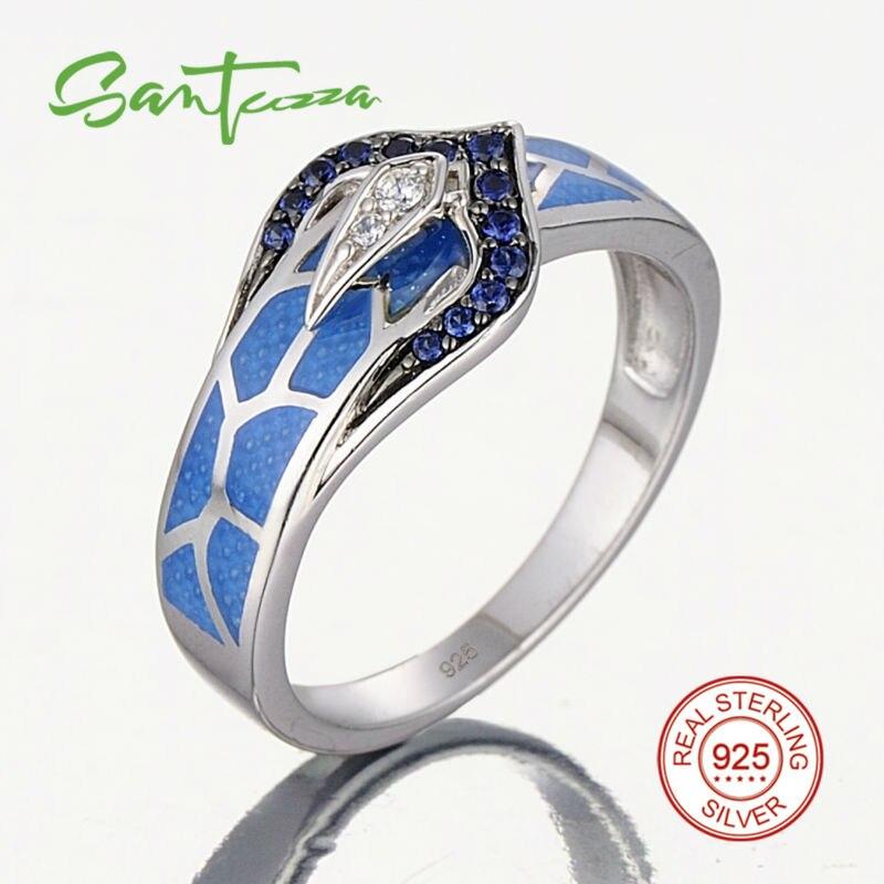 Silver Snake Ring for Women Blue Stone Blue HANDMADE Enamel Rings Pure 925 Sterling Silver Fashion