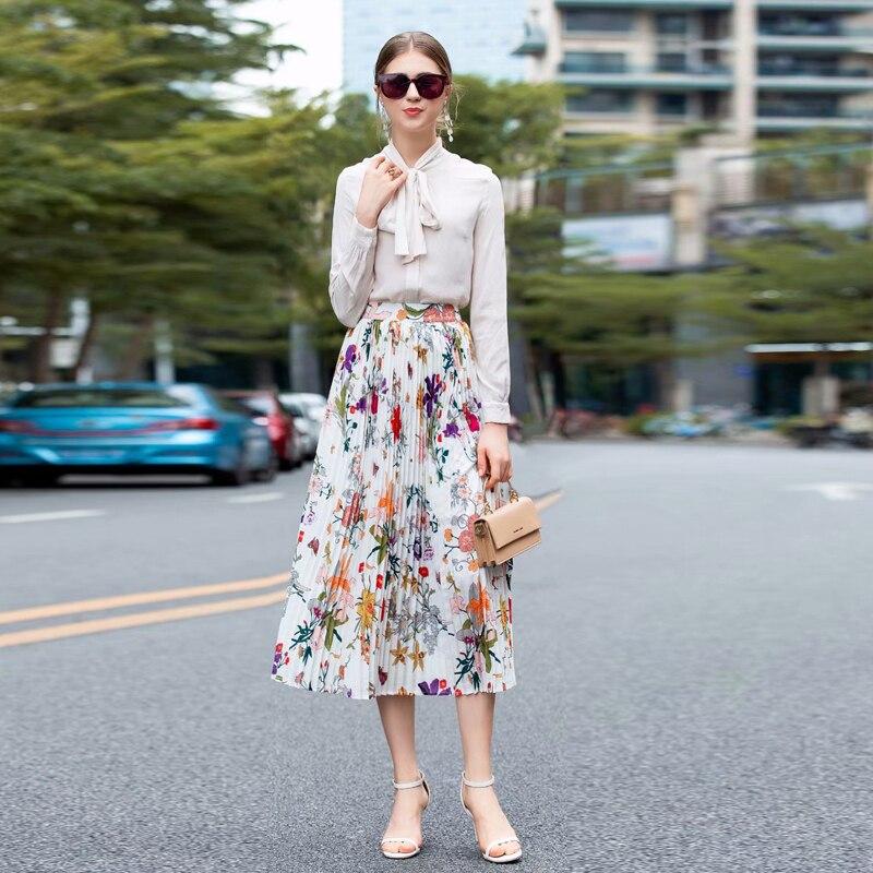 Sexy longue jupe nouvelle haute qualité été femmes fête mode Boho plage loisirs vacances fleur imprimer pli filles demi-jupe