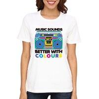 Loo Pokaż Muzyka Brzmi Lepiej z Kolorami Biały Lato Bawełna Krótki Rękaw T Koszula Kobiety W-Y002